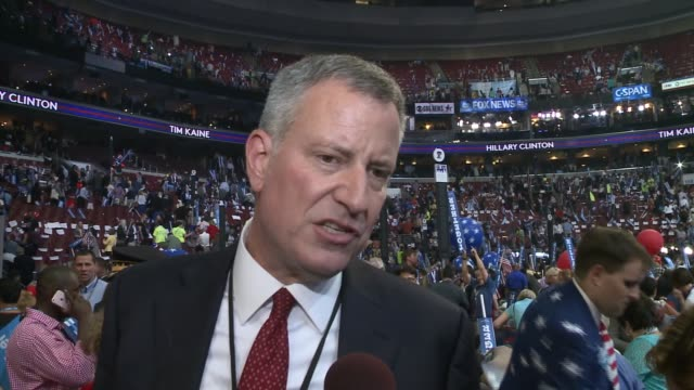 New York Mayor Bill de Blasio discusses his thoughts about Hillary Clinton's speech at the DNC Democratic National Convention 2016 at Wells Fargo...