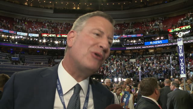 New York Mayor Bill de Blasio discusses the historic night for Hillary Clinton at the Democratic National Convention Democratic National Convention...