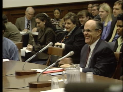new york mayor rudy giuliani accepts a compliment from a house government reform committee member about how safe new york has become under his tenure. - 1999 stock videos & royalty-free footage