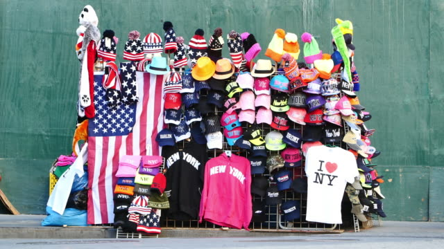 new york merchandise - baseball cap stock videos and b-roll footage
