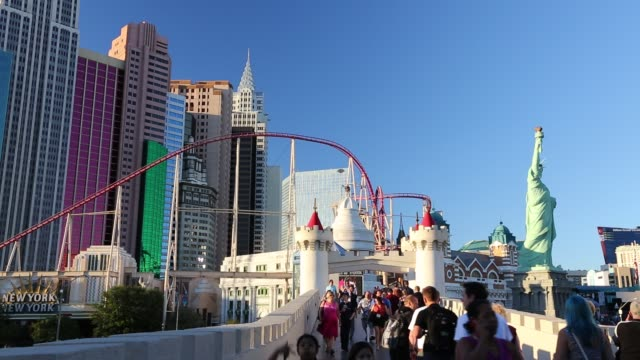 new york new york on las vegas boulevard in las vegas, nevada, usa, probably the most unsustainable city in the world, it uses vast quantities of... - boulevard stock videos & royalty-free footage