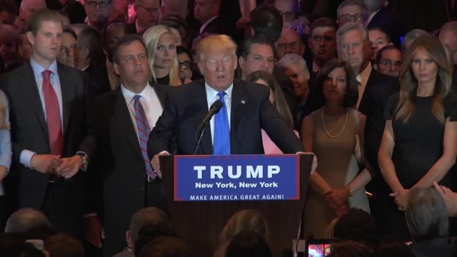 new york, ny clip 1: donald trump gives remarks on his victory in the east. audio: mult. box clip 2: trump gets asked a question about ted cruz... - republican party stock videos & royalty-free footage