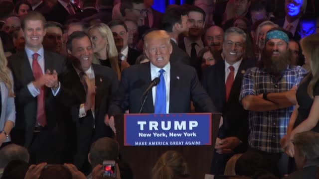 vídeos de stock, filmes e b-roll de donald trump gives remarks on his victory in the east audio mult box clip 2 trump gets asked a question about ted cruz choosing his running mates and... - eleição primária