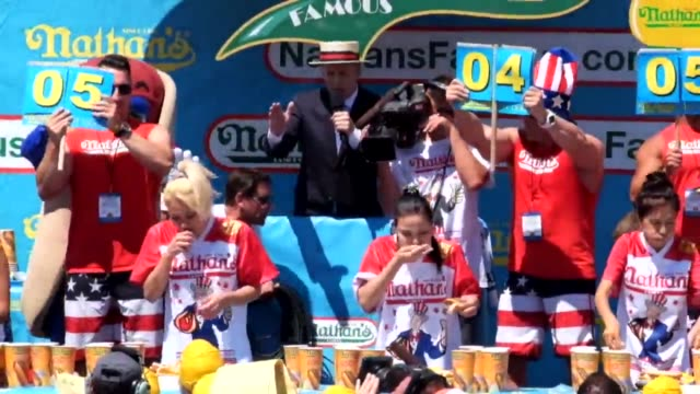 new york, ny nathans hotdog eating contest. - contestant stock videos & royalty-free footage