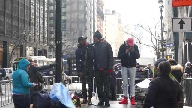 new york police intervene homeless protesters blocking traffic right before new york governor andrew cuomo's mahhattan office in nyc usa on march 13... - tramp stock videos & royalty-free footage