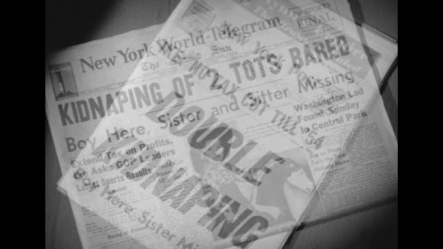 ike no tax cut till '54 and double kidnaping / cu new york worldtelegram front page kidnaping of 2 tots bared boy here sister and sitter missing / cu... - new york daily news stock videos and b-roll footage