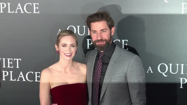 clean new york premiere of a quiet place at amc lincoln square theater on april 2 2018 in new york city - john krasinski video stock e b–roll