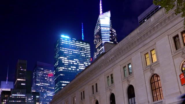 new york public library, manhattan, new york city, new york, usa - bryant park stock videos & royalty-free footage
