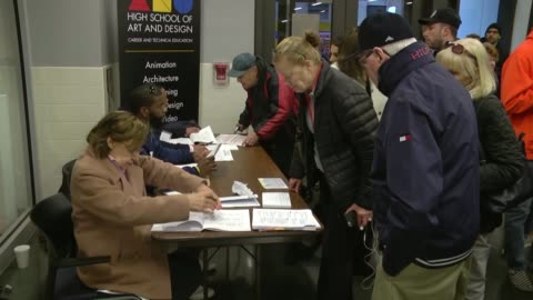 new york residents cast their ballots at robert simon middle school during the 2016 presidential elections in new york city on november 8, 2016.... - 2016 stock videos & royalty-free footage