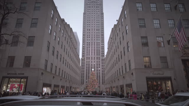 new york rockefeller center during christmas tree from a distance with 30 rock building. midtown manhattan. video: thompics - sk / getty images - rockefeller centre stock videos & royalty-free footage