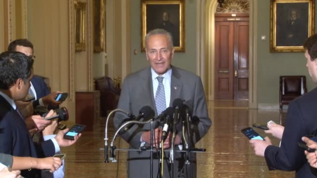 New York Senator Charles Schumer offers a statement of support for Senator Bernie Sanders after they had met following on Sanders loss in the...