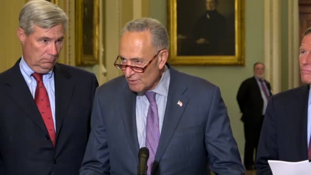 New York Senator Charles Schumer tells reporters at a weekly briefing that Kavanaugh White House documents should quickly come to light and the...