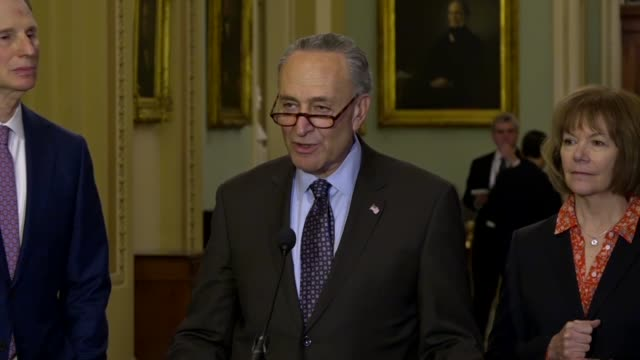 New York Senator Chuck Schumer answers a reporter question at a weekly briefing calling it utterly amazing for US ambassador Nikki Haley to expect...