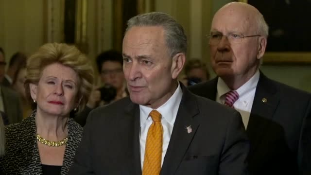 New York Senator Chuck Schumer answers a reporter question at a weekly news briefing after he and Nancy Pelosi met with President Donald Trump at the...