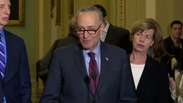 New York Senator Chuck Schumer answers a reporter question at a weekly briefing about forcing action on renewing the Deferred Action for Childhood...
