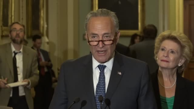 New York Senator Chuck Schumer answers questions at a regular press briefing suggesting that President Donald Trump listened to arguments over those...