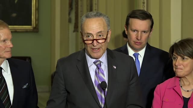 New York Senator Chuck Schumer is asked at a weekly briefing after a mass shooting at Marjory Stoneman High School about airline Delta and Georgia...
