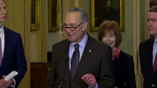 new york senator chuck schumer jokes during a press conference that in mentioning the wall street journal, he did not mean valiant reporters then... - editorial stock videos & royalty-free footage