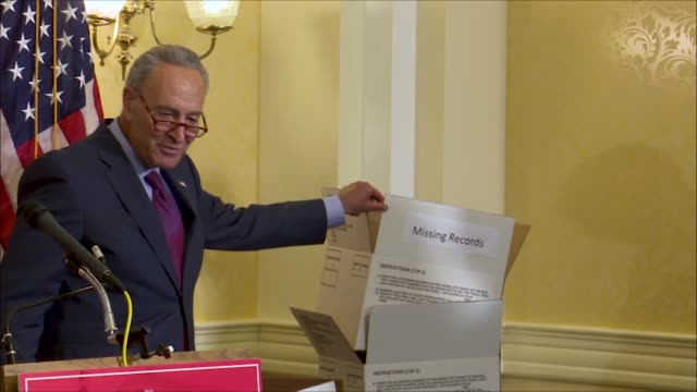 new york senator chuck schumer points to empty boxes at a news event on supreme court nominee brett kavanaugh his staff wanting to be filled to... - brett kavanaugh stock videos and b-roll footage