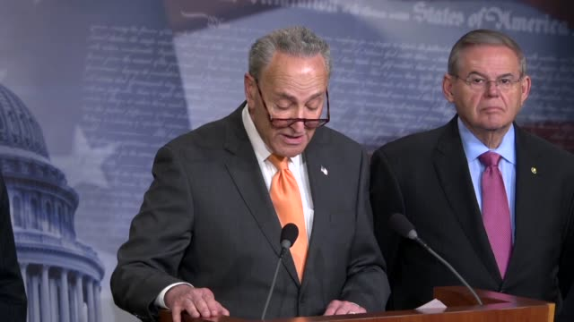 new york senator chuck schumer tells reporters at a briefing on introduced legislation that democrats agree with president donald trump on... - 中央アメリカ点の映像素材/bロール