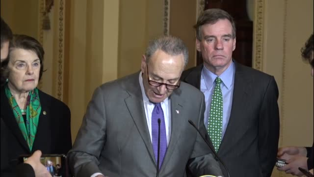 New York Senator Chuck Schumer tells reporters that he had called together an emergency meeting of members of his caucus to discuss what he calls...