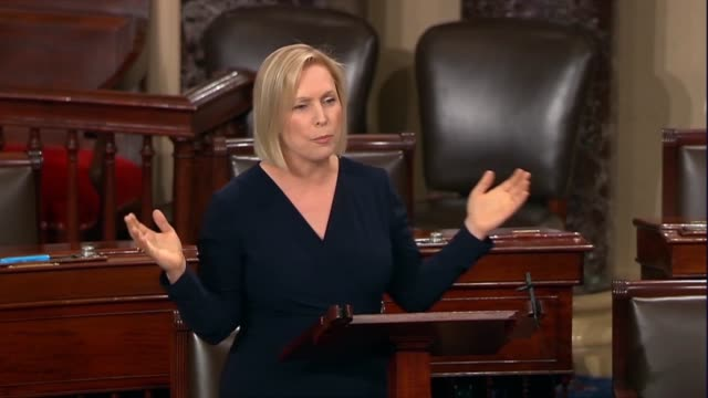 new york senator kirsten gillibrand says women's organizations veterans organizations and legal organizations support this bipartisan bill that puts... - legal defense stock videos and b-roll footage