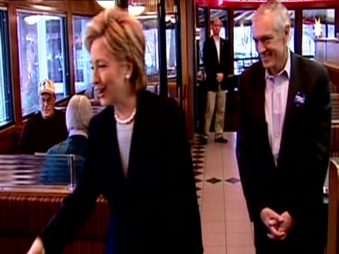 new york senator meets voters in diner canvassing support for presidential candidacy during nomination race iowa; 2008 - nomination stock videos & royalty-free footage