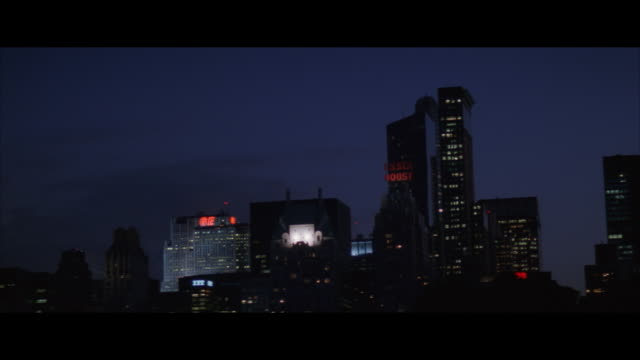 ms, pan, new york skyline at dusk, new york city, new york, usa - レターボックス点の映像素材/bロール