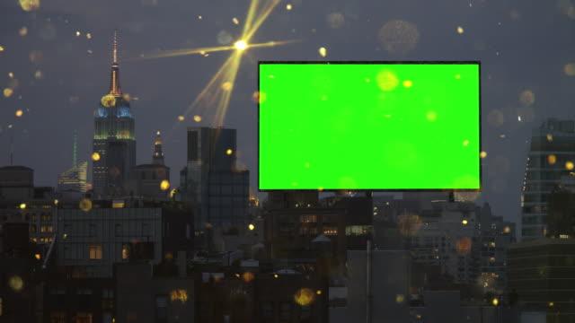 Paisagem Urbana de Nova York com horizonte de neve glitter dourado outdoor ecrã verde
