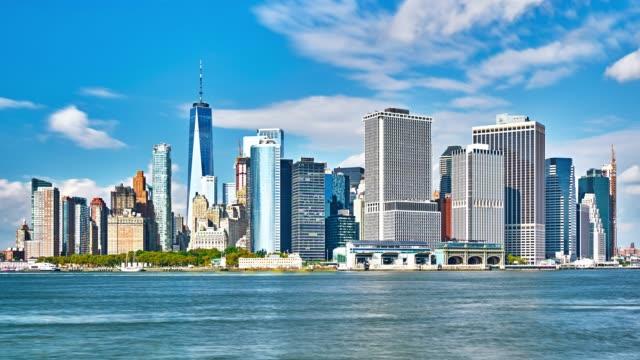 new york skyline panorama - vik vatten bildbanksvideor och videomaterial från bakom kulisserna