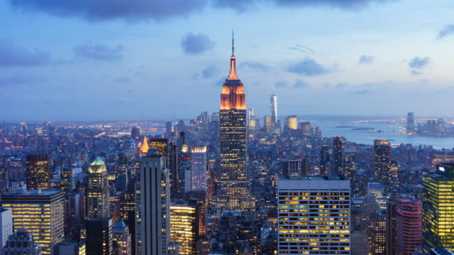 new york skyline sunset time lapse. - skyline stock videos & royalty-free footage