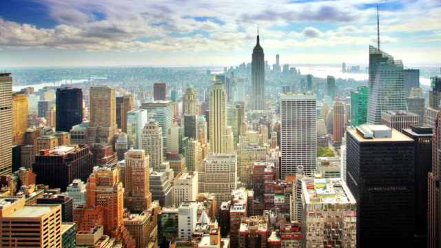 new york skyline - manhattan new york city stock videos & royalty-free footage