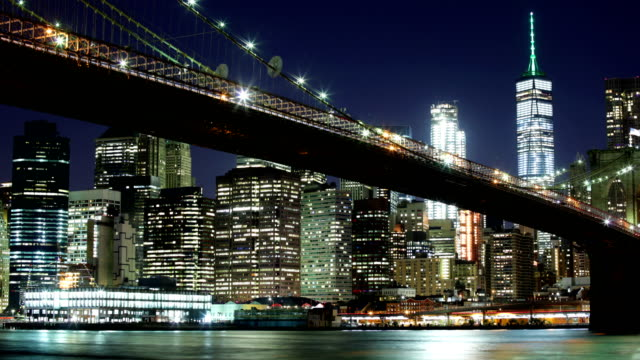 new york skyline - williamsburg bridge stock videos and b-roll footage