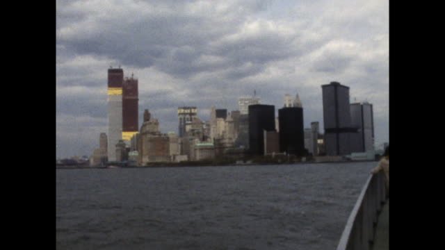 new york skyline with world trade center construction; 1971 - general view stock videos & royalty-free footage