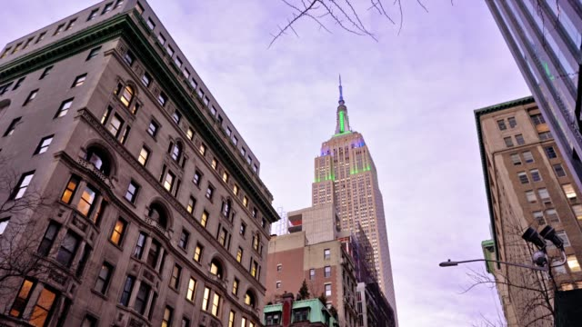 new york slyline. empire state building - gothic style stock videos & royalty-free footage