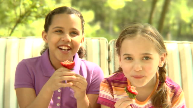 vídeos de stock e filmes b-roll de ms, usa, new york state, bedford hills, two girls (6-9 years) eating strawberries, sitting outdoors - 6 7 years