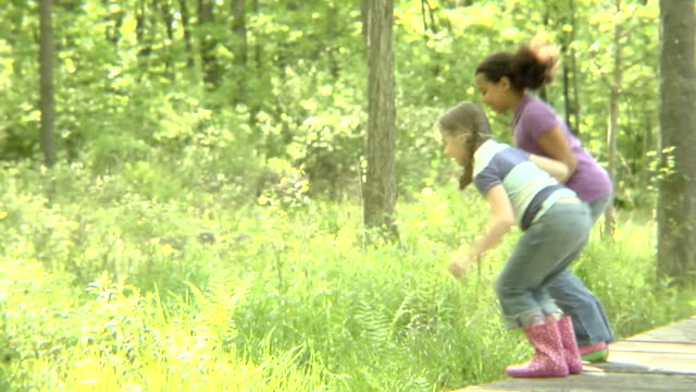 MS, USA, New York State, Bedford Hills, two girls (6-8 years) jumping off wooden boardwalk