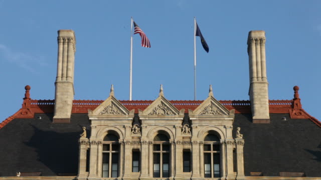 new york state capitol building - flag stock videos & royalty-free footage