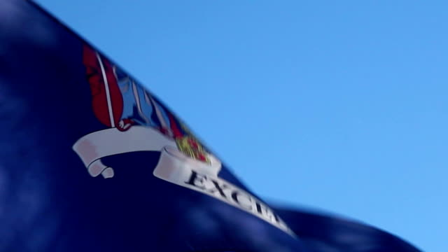 new york state flag waving in the wind - cu - albany new york state stock videos & royalty-free footage
