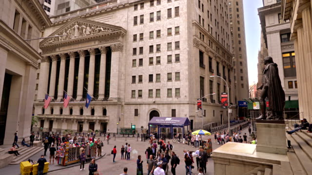 new york stock exchange and federal hall national memorial - financial building stock videos and b-roll footage