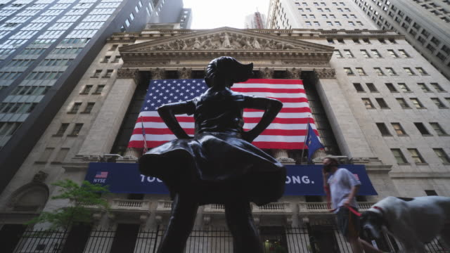 new york stock exchange partially reopened may 26 at lower manhattan during the quarantine for new york state on pause order of covid-19 at new york... - new york stock exchange stock videos & royalty-free footage