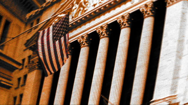 grainy anamorphic cross process ms new york stock exchange with american flag / nyc - image manipulation stock videos and b-roll footage