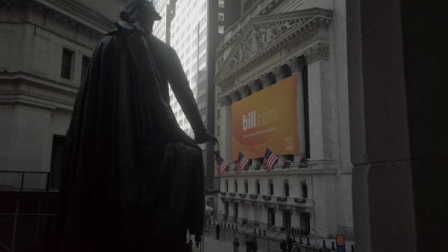"new york stock exchange (""nyse"") with bill.com logo - new york stock exchange stock videos & royalty-free footage"