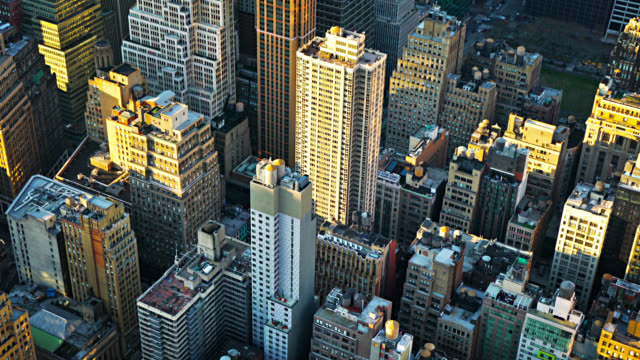 new york street. aerial view. manhattan financial building. business district. fashion avenue - impero video stock e b–roll