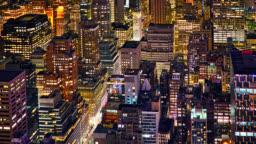 New York street. Aerial View. Night