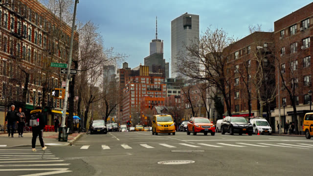 new york street at downtown. soho. - taxi stock videos & royalty-free footage
