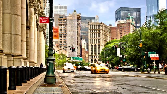 New York street. Rain