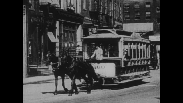 new york streetcars circa 1900 - old fashioned stock videos & royalty-free footage