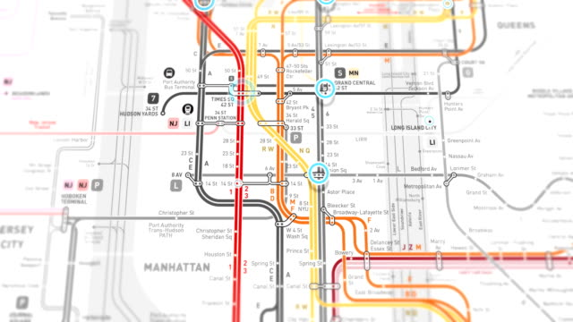 new york subway map localization - seamless 4k loop - computer graphic stock videos & royalty-free footage