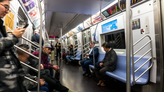 vídeos de stock, filmes e b-roll de new york subway ride - time lapse - interior de transporte